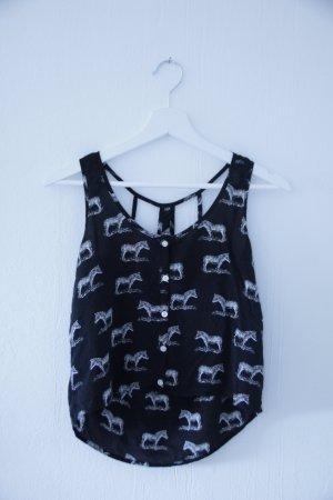 AEROPOSTALE Zebra Print Top mit Rücken Cut Outs