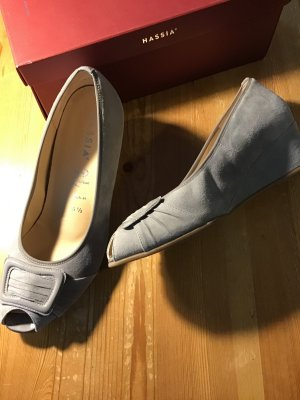 Hassia Wedge Pumps silver-colored-light grey leather
