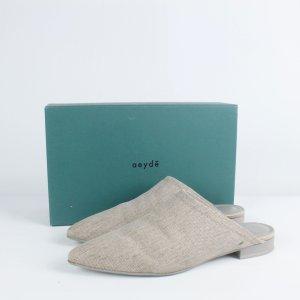 aeyde Sandalo con tacco beige Tessuto misto