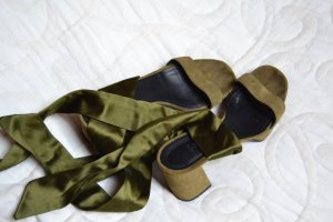 aeyde Platform High-Heeled Sandal olive green