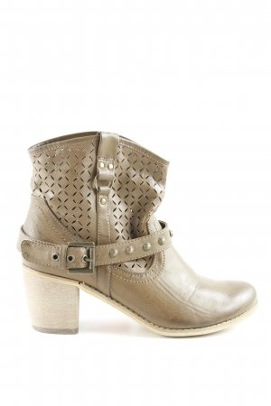 AF Ankle Boots hellbraun florales Muster Boho-Look