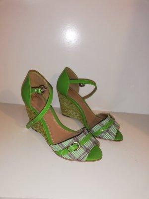 AF Keilabsatz Sandalen neu 37 grün Bast Rockabilly Retro lack peeptoes