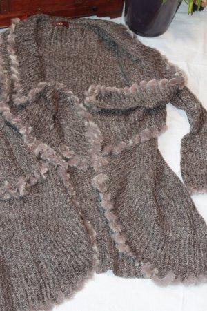 Smanicato lavorato a maglia viola-grigio Mohair