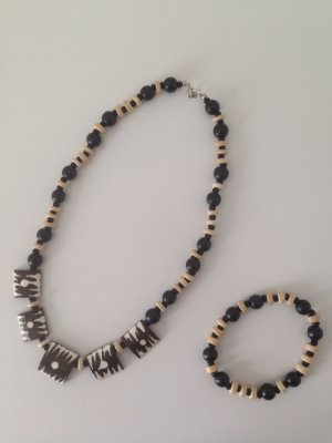 afrikanische Holzperlen-Kette mit Armband