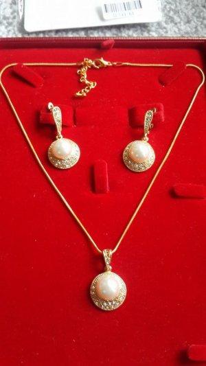 Afrikanische Mode simulierte Perlen Runde  Schmuck Sets  Luxurygold Farbe Kettenhalsketten-Ohrringe