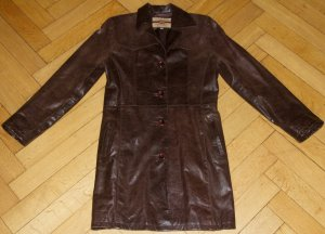 Cappotto in pelle bordeaux