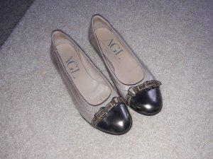 AGL Ballerine en pointe gris brun-bronze cuir