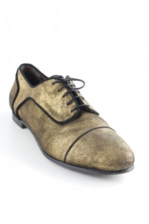 AGL Zapatos Oxford con puntera color oro-negro elegante