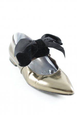 AGL Patent Leather Ballerinas gold-colored-black extravagant style