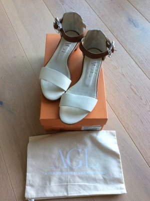 AGL Strapped High-Heeled Sandals natural white leather