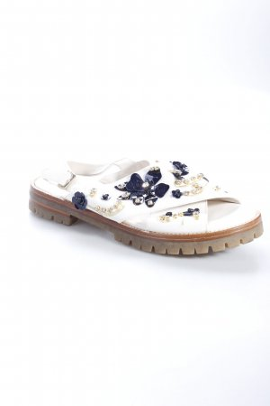 AGL Sandals white-dark blue flower pattern Decorative elements
