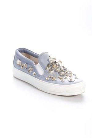 AGL Sneaker slip-on blu pallido-oro motivo floreale ornamenti di strass