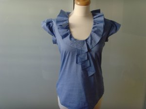 AGLINI ★ blau Bluse ★ Gr. 34-36 IT40 m. Rüschen Kurzarm Baumwolle/Elasthan