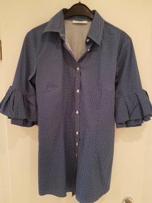 Aglini Bluse blau mit Rüchen am Arm Gr.46 italienisch