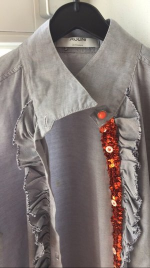 Aglini Bluse in blau mit Details in orange
