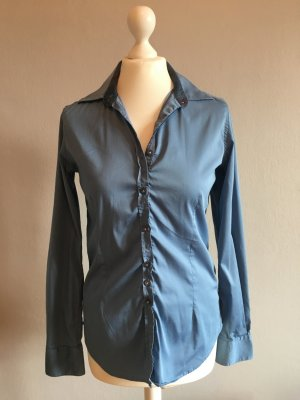 Aglini Long Sleeve Blouse steel blue cotton
