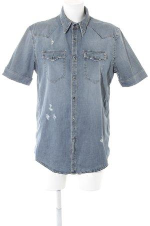 Aglini Blusa denim multicolore stile jeans