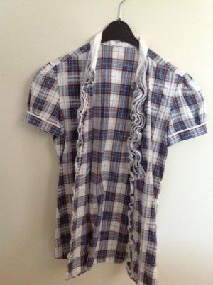 Aglini Kurzarm-Bluse mit Rüschen