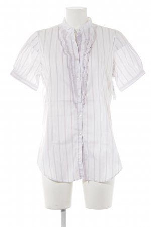 Aglini Short Sleeved Blouse natural white-mauve striped pattern business style