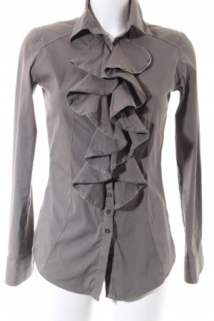 Aglini Long Sleeve Blouse light brown-silver-colored elegant