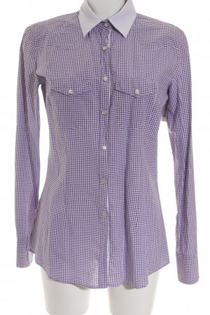Aglini Long Sleeve Blouse lilac-white check pattern business style