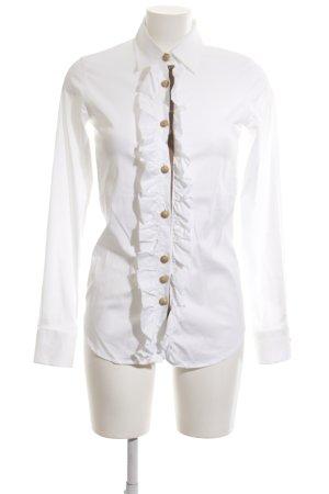 Aglini Rüschen-Bluse weiß Elegant