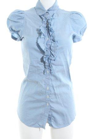 Aglini Rüschen-Bluse blau Elegant