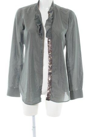 Aglini Ruche blouse lichtgrijs casual uitstraling