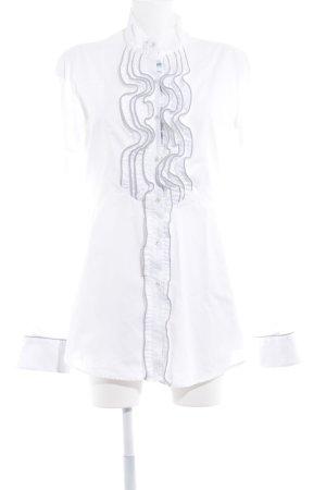 Aglini Rüschen-Bluse weiß-grau Elegant