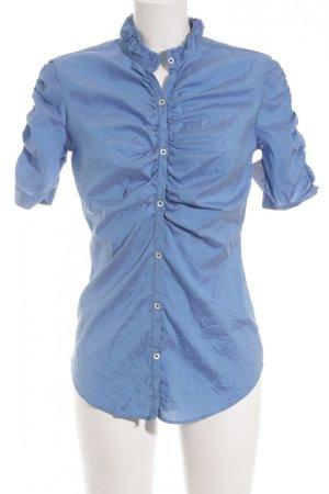 Aglini Seidenbluse neonblau-blau Business-Look
