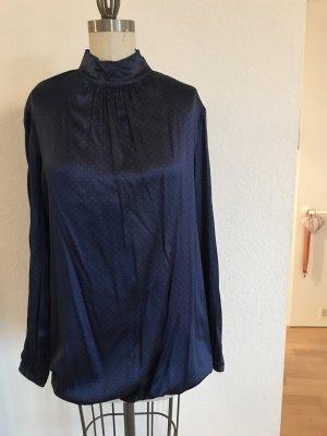 Aglini Stand-Up Collar Blouse dark blue-beige