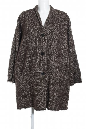 Aglini Wool Coat brown-natural white weave pattern casual look