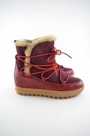 AIGLE Damen Boots Mod.POSIO GRENAT Rot Leder Wildleder Fellimitat Gr.37 Neu