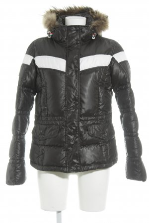 Aigle Daunenjacke schwarz-weiß Steppmuster Casual-Look