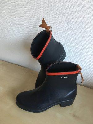 """Aigle """"Miss Juliette Bot."""" Gummi-Boots Orig.Gr. 38 in Nachtblau/ Rot mit 4 cm Absatz"""