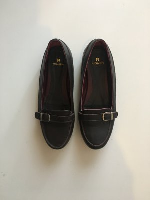 Aigner Slip-on Shoes blackberry-red-black brown leather