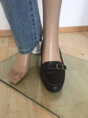 Aigner Zapatos sin cordones marrón oscuro-carmín Cuero