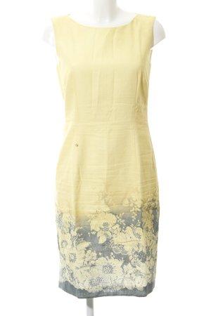 Aigner A-Linien Kleid blassgelb-grau florales Muster Business-Look