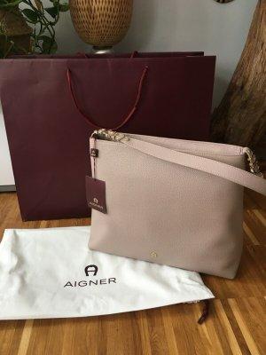 Aigner Abby Beutel Shopper stone grey Nude Beige Gold Leder Luxus Neu Logo