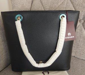 Aigner Amy Shopper Handtasche Schultertasche Leder Schwarz gold neu
