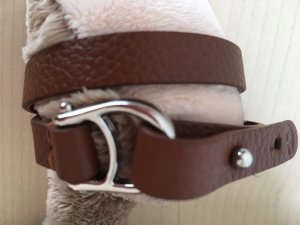 Aigner Bracelet brown-silver-colored leather