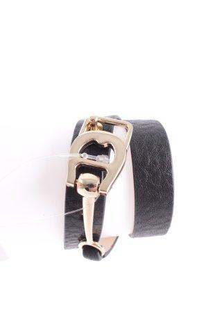 Aigner Armband schwarz-goldfarben Leder-Optik