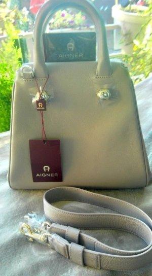 Aigner Handbag light grey-cream leather