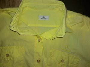 Aigner Long Sleeve Blouse yellow-lime yellow cotton