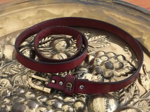 Aigner Leather Belt carmine-sand brown leather