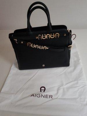 Aigner Handtasche Leder schwarz Neu mit Etikett