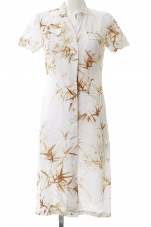 Aigner Abito blusa camicia bianco-marrone motivo floreale stile casual