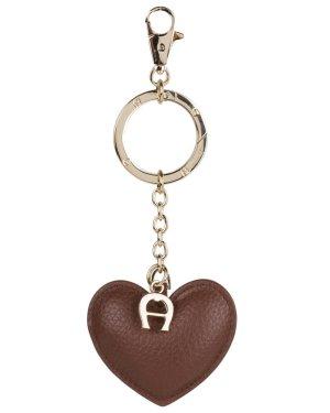 Aigner Herz Leder Anhänger Taschenanhänger Schlüsselanhänger Beige Braun
