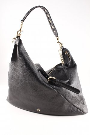 Aigner Bolsa Hobo negro-color oro look casual