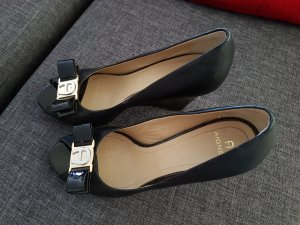 Aigner Wedge Sandals black-gold-colored leather